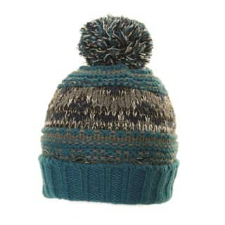 Bulk patterned chunky knit blue bobble hat
