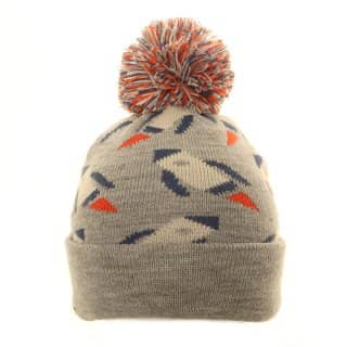 Wholesale bobble hat with rocket ship design in grey