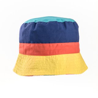 Wholesale childrens unisex bush hat featuring yellow and navy colour scheme