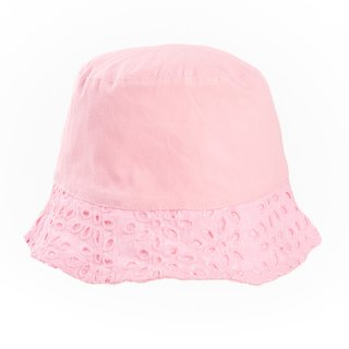 Wholesale girls pink bush hat with cutout floral brim