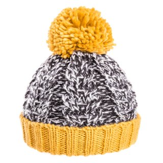 Boys chunky knit cable in yellow and grey available for bulk purchase from wholesale hat supplier SSP Hats