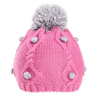 Girls bobble hat with bobble detail in pink and grey available for bulk purchase