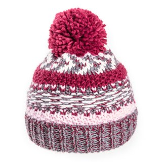 Kids unisex bobble hat available for wholesale purchase in pink