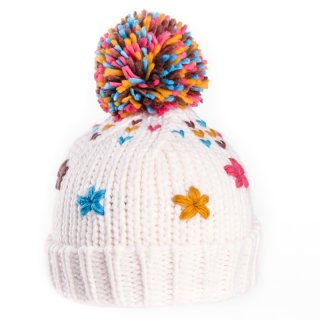 Wholesale girls bobble hat with crochet flowers