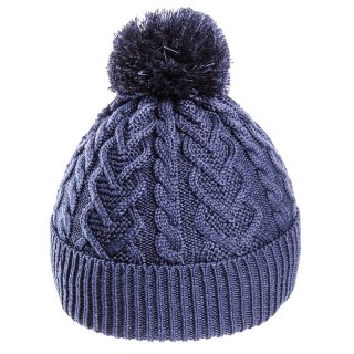 Wholesale girls bobble hat in blue featuring a heart pattern