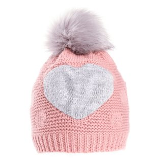 Wholesale pink girls lined bobble hat with faux fur pom-pom and grey heart design