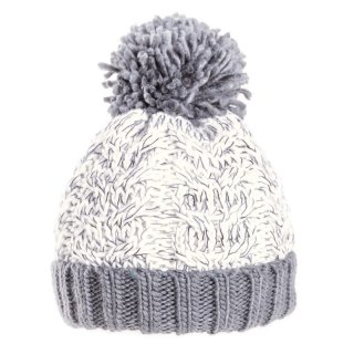 Bulk acrylic cable knitted bobble hat in white and grey