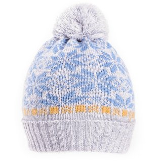 Boys bulk cable knitted bobble hat with light blue wintry design
