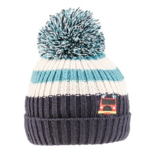 Wholesale boys tractor and fire engine logo knitted bobble hat in blue and white