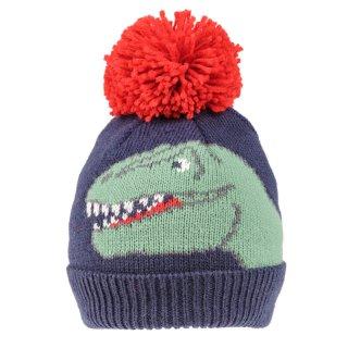 Wholesale blue boys dinosaur face print knitted bobble hat