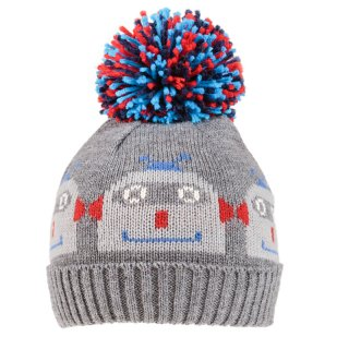 Wholesale boys knitted bobble hat with robot design