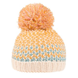 Wholesale acrylic girls knitted bobble hat in mustard colour