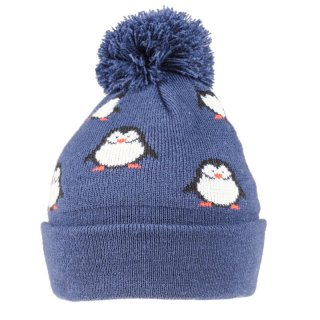 Wholesale kids unisex penguin designed knitted bobble hat in blue