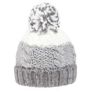 Wholesale kids unisex bobble hat with grey and white stripes