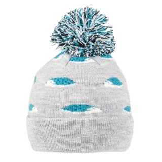 Wholesale kids unisex hedgehog blue and grey printed knitted bobble hat