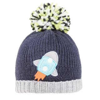 Wholesale boys rocket printed knitted acrylic bobble hat in blue