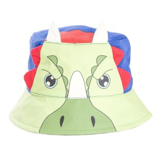 Wholesale kids unisex green triceratops bush hat developed from cotton
