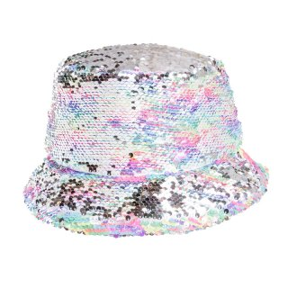Wholesale kids flipable sequin bush hat in grey