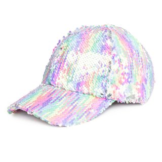 Wholesale kids flipable pastel sequin baseball cap