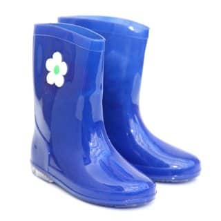 CHILDREN'S BLUE FLOWER PVC WELLIES