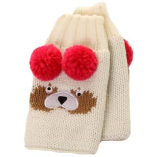 Wholesale white fingerless bear gloves for girls