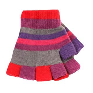 Wholesale magic gloves for girls with red and plum colour scheme