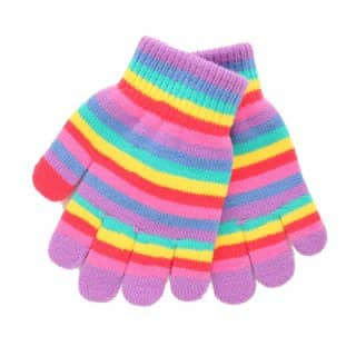 Wholesale girls stripey magic gloves