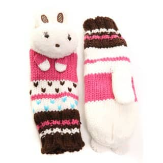 GIRLS KNITTED 'BUNNY' MITTENS