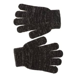 Wholesale girls stretchy black glitter gloves