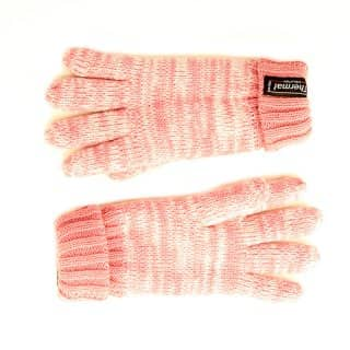 Wholesale kids knitted thinsulate marl effect gloves in pink