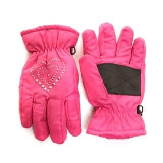 Wholesale girls studded gem ski gloves in pink