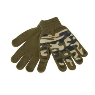 Wholesale childs green camo magic gripper gloves