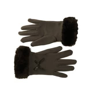 Wholesale ladies faux fur trim gloves in grey