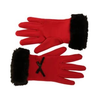 Wholesale ladies faux fur trim gloves in red