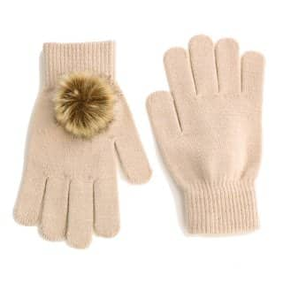 Wholesale cream ladies stretchy pompom gloves featuring pom poms