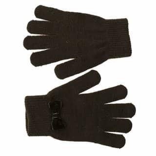 Wholesale gloves with stretchy bow for ladies in black