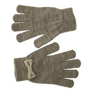 Wholesale gloves with stretchy bow for ladies in dark grey
