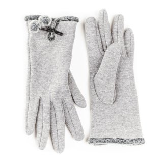 Wholesale ladies gloves with pom pom trim in light grey