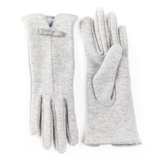 Wholesale ladies gloves with bow trim in light grey