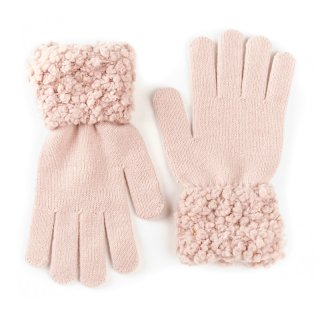 Wholesale Ladies knitted pink glove with popcorn yarn cuff