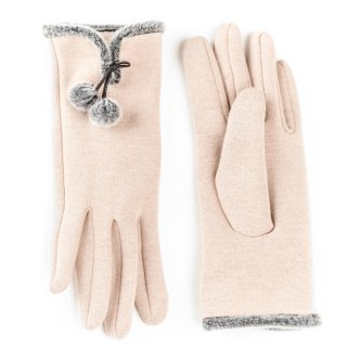 Wholesale ladies gloves with pom pom trim in light pink
