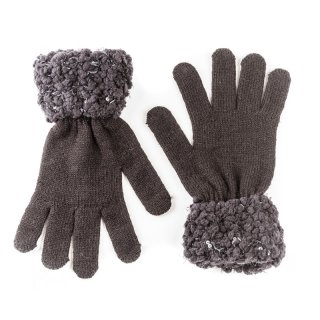 Wholesale Ladies knitted dark grey glove with popcorn yarn cuff