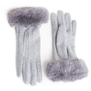 Wholesale ladies light grey gloves with bow and fur trim