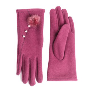 Wholesale Ladies luxury gloves with pearl trim in maroon