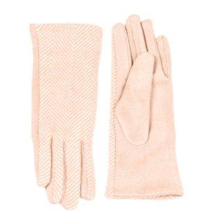Wholesale ladies super soft stripe gloves in orange
