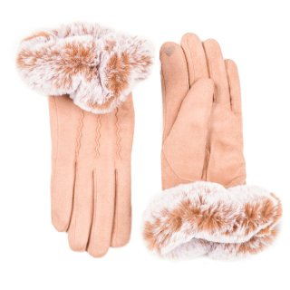 Wholesale ladies super soft gloves in camel and large faux fur cuffs