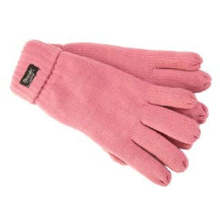 Wholesale knitted thinsulate branded gloves in light pink