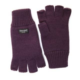 Bulk fingerless thinsulate branded gloves in purple