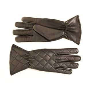GL35- LADIES BLACK QUILTED LEATHER GLOVES