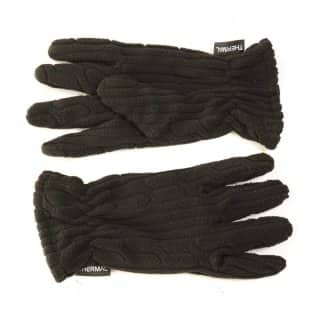 Wholesale ladies fleece cable knit effect gloves in black